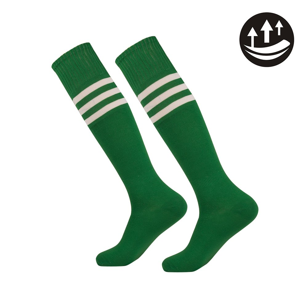 Dodove Unisex Knee High Soccer Football Sport Tube Tripe Stripe Socks, 2-10 Pairs (2 Pairs-dark green and White Striped)
