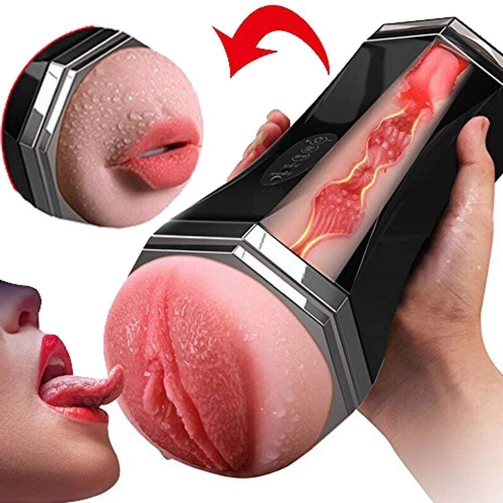 MLFMHR Masturbador para Hombres, Copa Copa Doble 3D Realista, Copa Copa Versátil 2 En 1 Reutilizable, Vaginal Y Oral, USB Recargable, Juguete Sexual 1be733