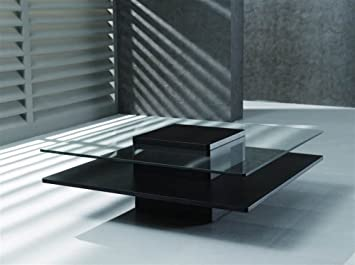 New Spec Inc Modern Coffee Table W Square Glass Top W Wenge 387822