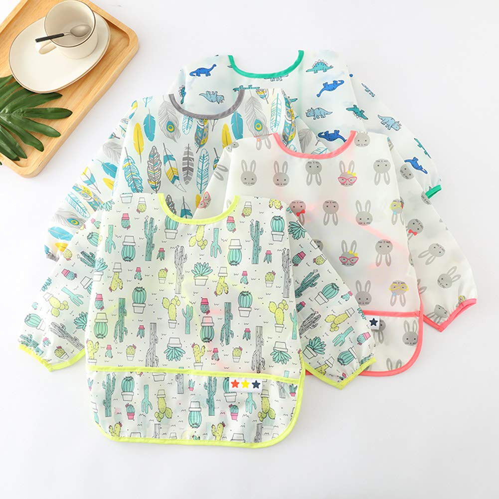 Baby Apron Soft Stain and Odor Resistant Bibs Long Sleeve Durable Bibs Eating Waterproof Smocks Feeding Cartoon Bibs Washable Painting Aprons with Crumb Catcher 6-12 Months