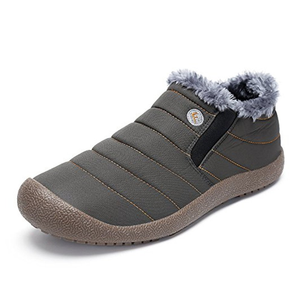 Low Top-Green WateLves Mens Womens Snow Boots Winter Anti-Slip Ankle Booties Outdoor Slippers Slip On with Warm Fully Fur Lined