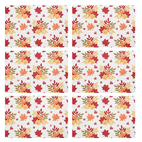 DOLOPL Fall Place Mats Maple Leaf Placemats Anti-Skid Easy to Clean Set of 6 Place Mat for Autumn Halloween Thanksgiving Harvest Dining Kitchen Tabl (Small Maple Leaf, Set of 6 Placemats)