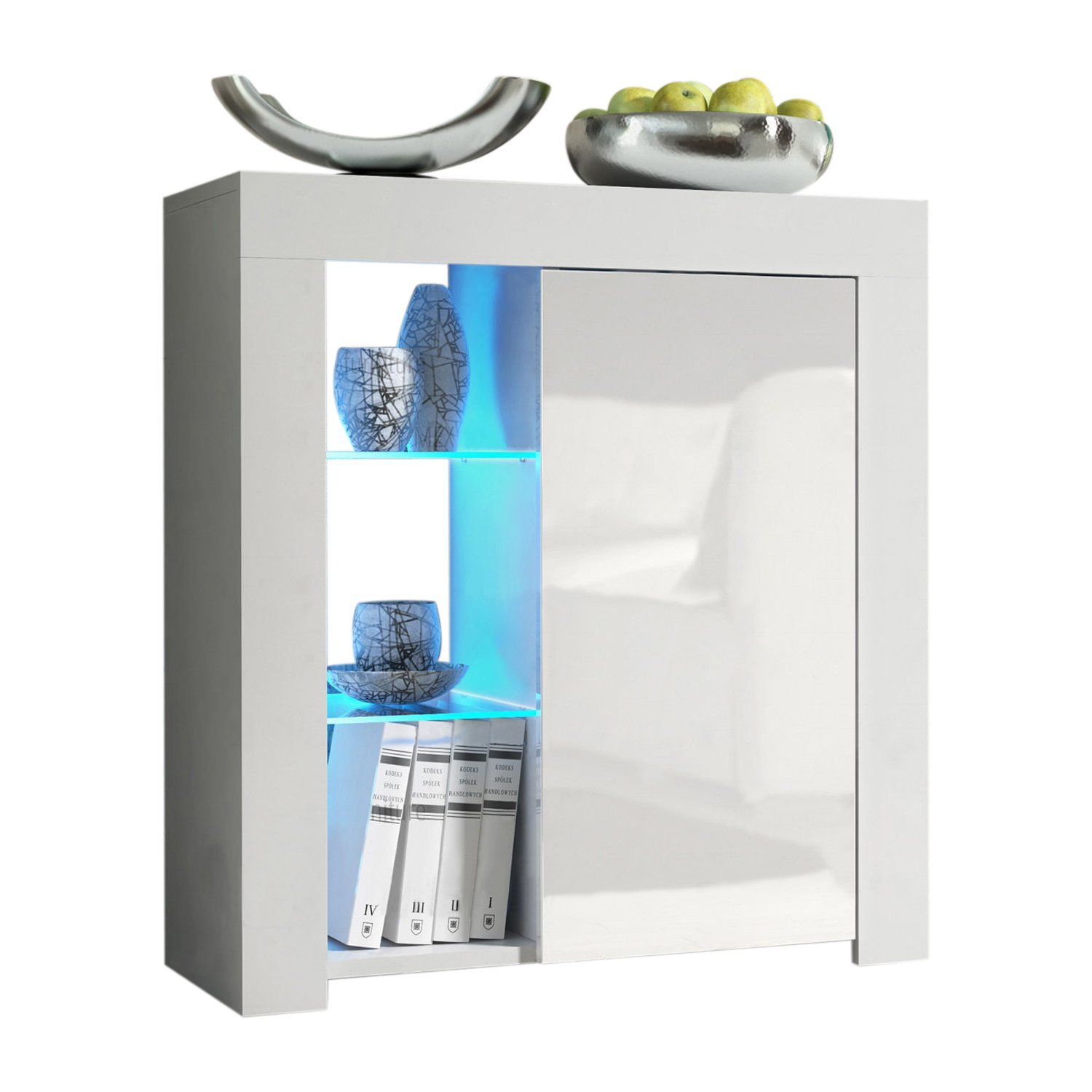 Meble Furniture & Rugs Milano 30'' Sideboard 1D Matte Body High Gloss Doors with 16 Color LEDs White