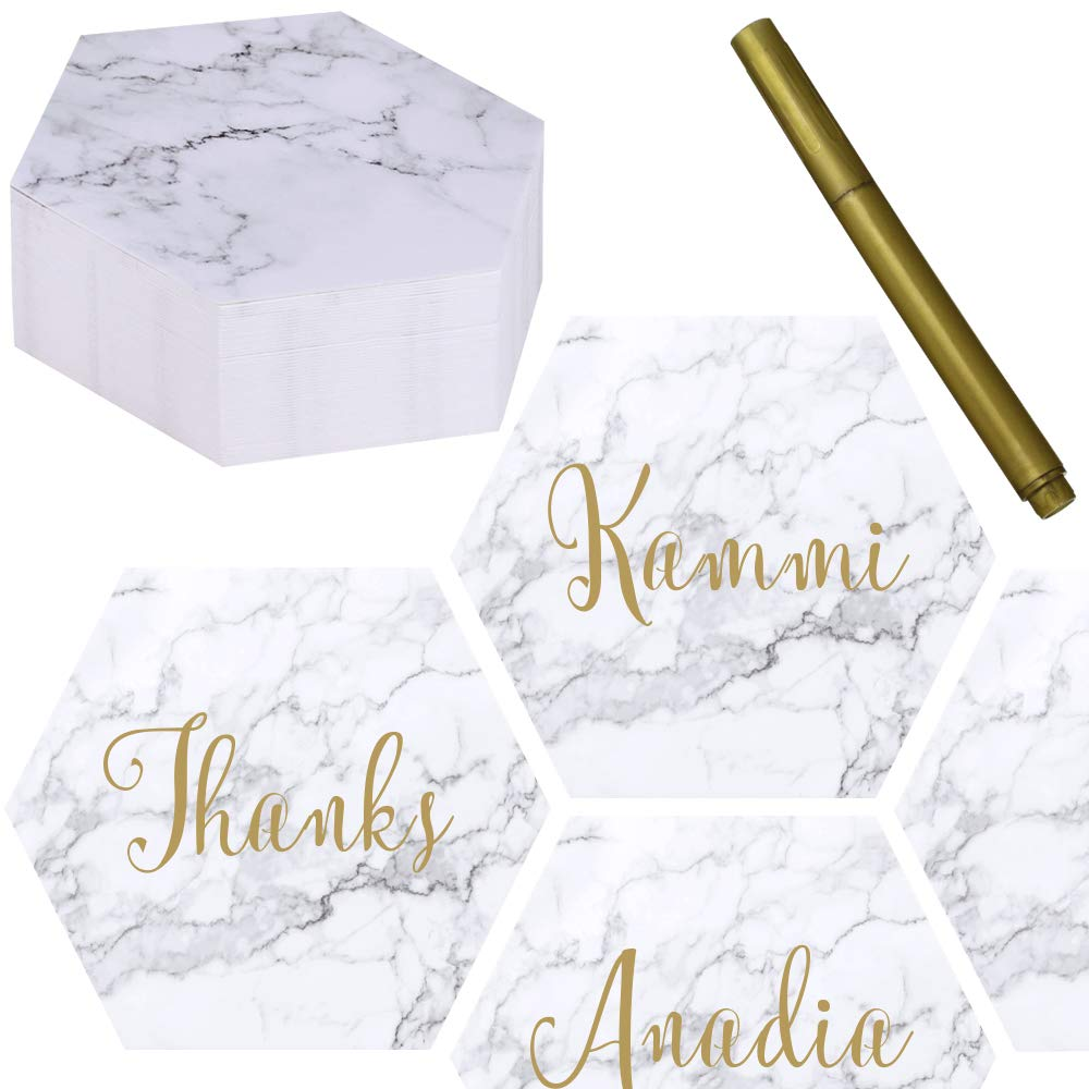 Exquiss 50 Packs Marble Hexagon Blank Place Cards Table Name Tags Table Card Seating Cards with Gold Metallic Marker Pen -3.6 for Wedding Baby Showers Christmas Thanksgiving Dinner Party (Paper)