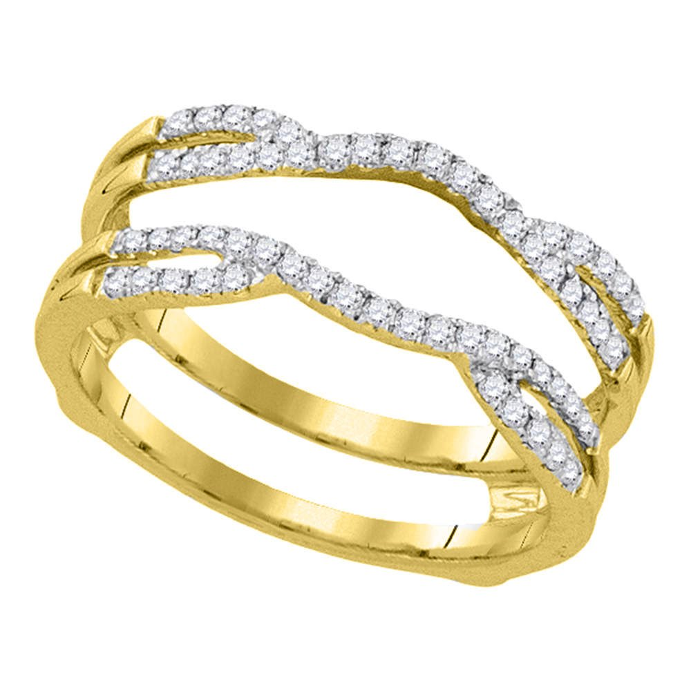 14kt Yellow Gold Womens Round Diamond Wrap Ring Guard Enhancer Wedding Band 1/3 Cttw (I1-I2 clarity; H-I color)