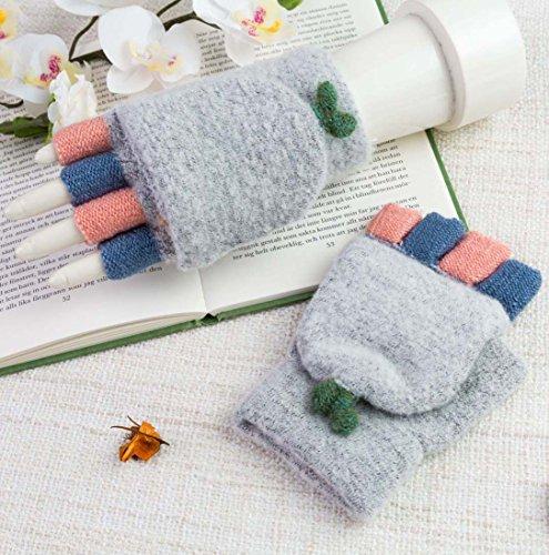 冬ウールニット手袋の女性暖かい指なしミトン手袋Fold Backポケット
