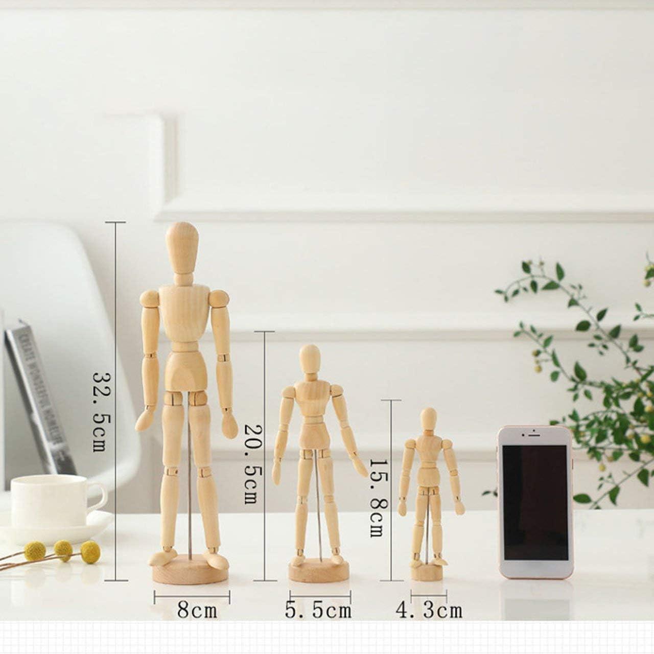 Ba30DEllylelly Arte humano de madera posable Dibujo Articulaciones flexibles Maniqu/í Maniqu/í Figuras Mu/ñeca Modelo Bosquejo Maniqu/í Mano