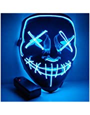 Foneso Halloween LED Masks, Terrible Costume for Halloween Cosplay Carnival Parties Powered Battery Blue (Not Included) (blue)