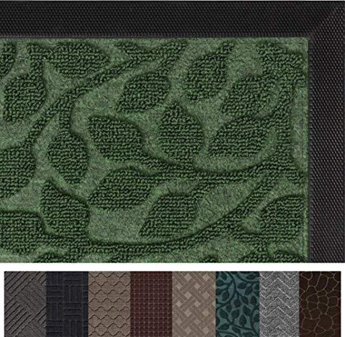 Gorilla Grip Original Durable Rubber Door Mat, 35 x 23, Heavy Duty Doormat for Indoor Outdoor, Waterproof, Easy Clean, Low-Profile Rug Mats for Entry, Patio, High Traffic Areas, Green Vine Leaves