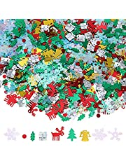 Quesuc 150g 7500 Pieces Christmas Table Confetti Christmas Confetti Elk Tree Angel Gift Snowflake Holly Sequin Christmas Wedding Birthday Holiday Party Decorations Supplies