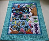 Hawaiian Quilt Baby Blanket/Wall Hanging, hand quilted and machine embroidered UNDERSEA/LIGHT HOUSE