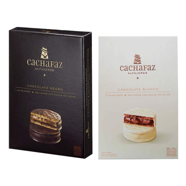 Amazon.com : CACHAFAZ Alfajores from Argentina 2-packs (12 alfajores) | 6 Dark Chocolate Alfajores & 6 White Chocolate Alfajores : Grocery & Gourmet Food