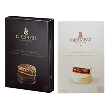 CACHAFAZ Alfajores from Argentina 2-packs (12 alfajores) | 6 Dark Chocolate Alfajores