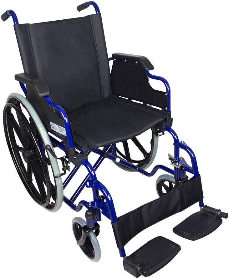 Mobiclinic, modelo Giralda, Silla de ruedas para minusválidos, premium, plegable, ortopédica, reposapiés, reposabrazos, color Azul y Negro, asiento 43 cm, ultraligera