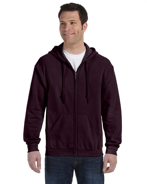Gildan Heavy Blend Unisex Adult Full Zip Hooded Sweatshirt Top (XL) (Dark Chocolate)