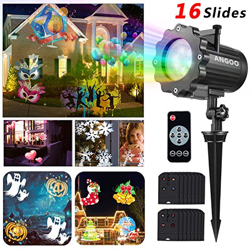 Led Christmas Light Projector, ANGOO Landscape Snowflake Spotlight With 16PCs Switchable Slides, Waterproof Led Projector Light Show for Christmas, Party, and Other Holiday Decoration (Light Christmas Show Home)