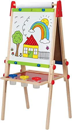 Award Winning Hape All-in-One Wooden Kid's Art Easel with Paper Roll and Accessories Cream