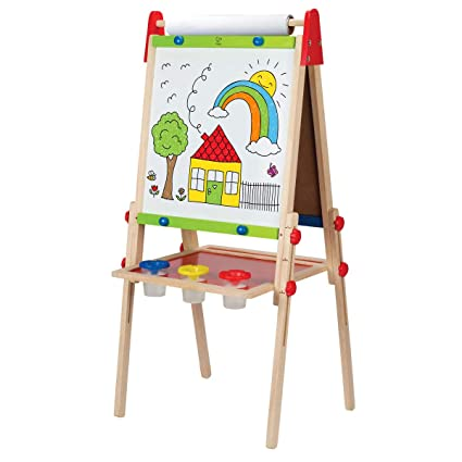hape all in one wooden kid s art easel with paper roll and