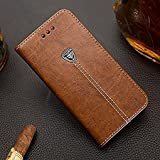 CaseteK Leather Wallet Stand Card Holder, Metal Logo PU with Magnetic Closure Flip Cover for Samsung Galaxy A9 Pro (Brown)