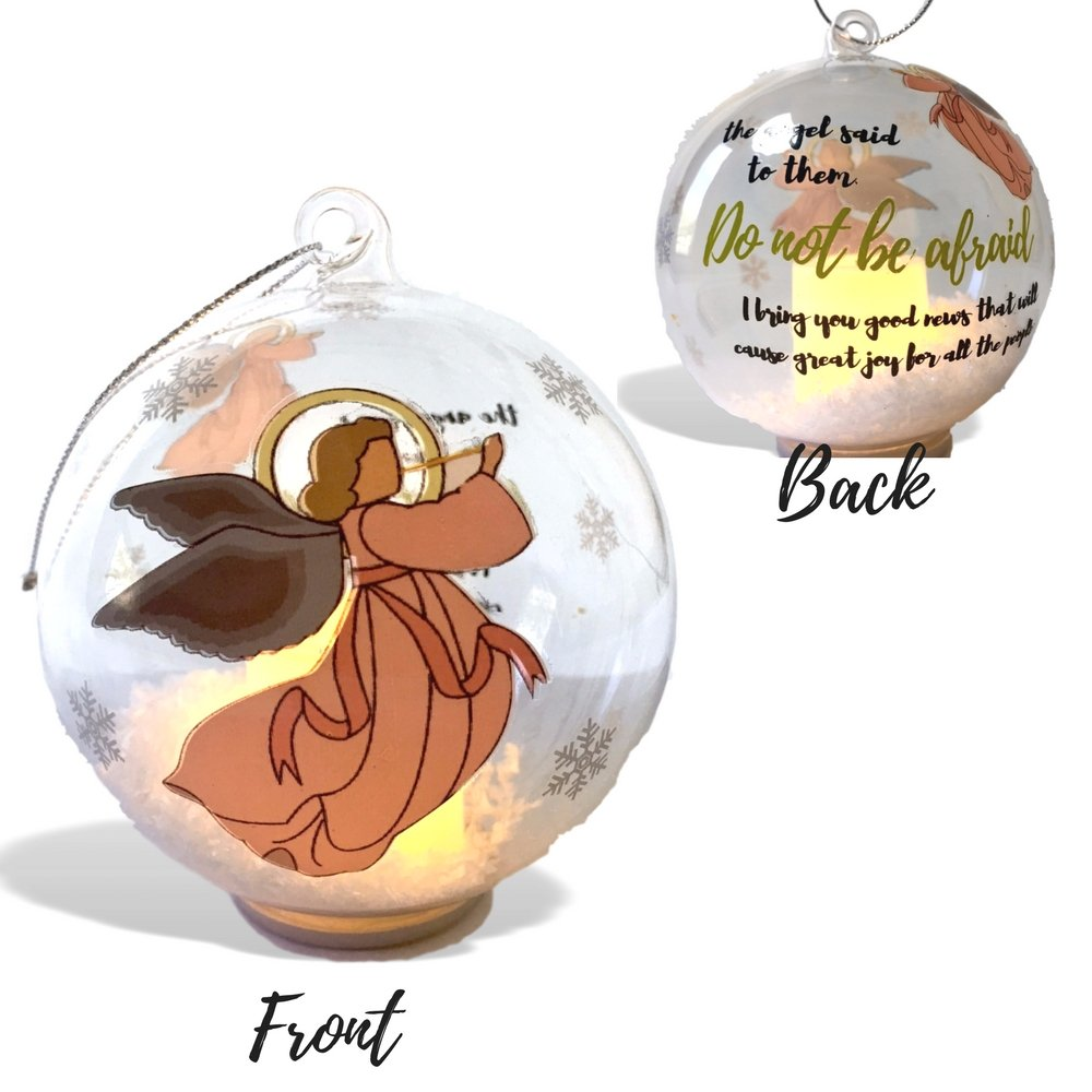 Angel Ornament - Light Up Glass Ball Ornament with Glitter Snow - Angel Design with the Saying ''The Angel Said to Them'' - Religious Ornament by Banberry Designs