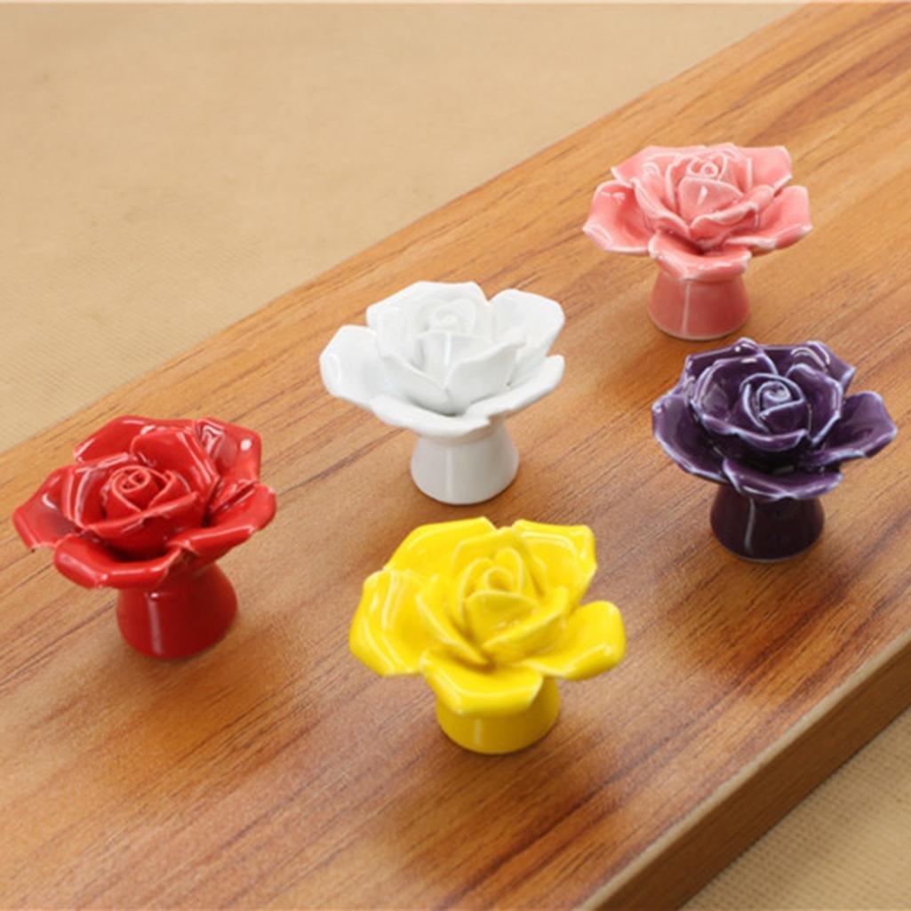 Hearsbeauty Boutons de Mode en Forme de Rose en C/éramique tiroir Porte de Placard en Porcelaine Poign/ée de Traction