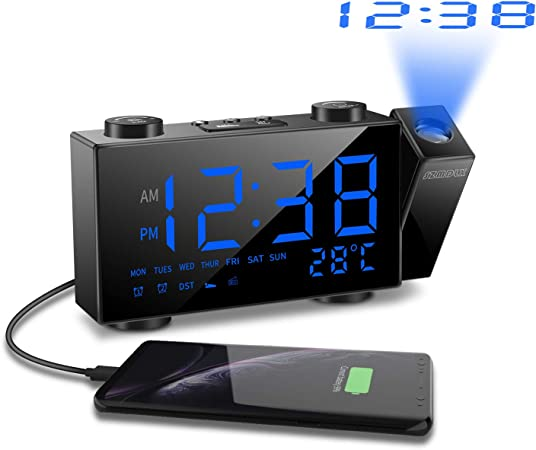 SZMDLX Radio Réveil à Projection, Horloges à Projection de l'Heure et Température Radio Réveil Horloge FM Numérique à Projecteur Luminosité Réglable