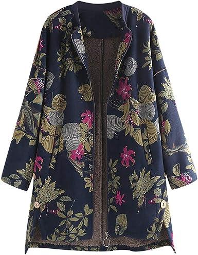 Abrigo Mujer Invierno Rebajas Logobeing Talla Grande Chaqueta Sueter Jersey Mujer Elegantes Abrigos Largos Vintage Con Estampado Floral Abrigos Amazon Es Ropa Y Accesorios
