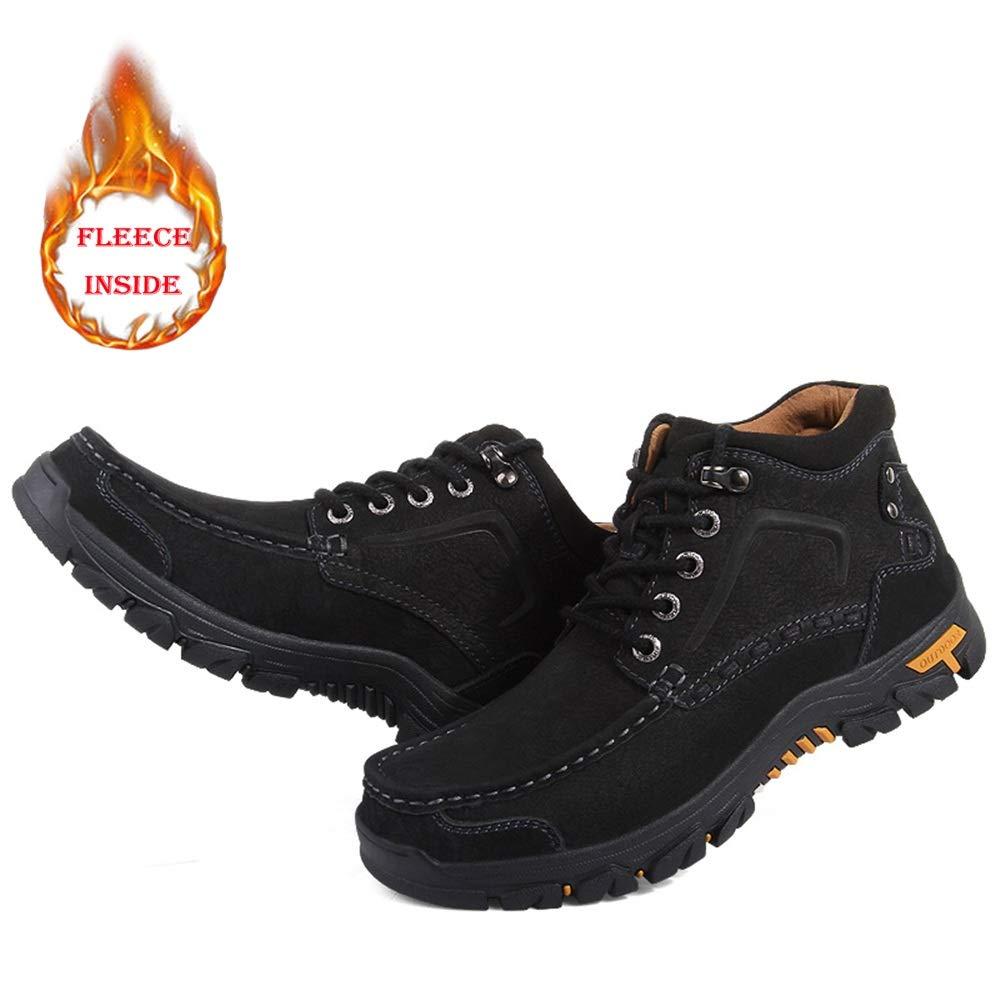 Hilotu Hilotu Hilotu Herren Outdoor-Schuhe Klassischer Ankle Wanderschuh Fleece Gefüttert Warme Außensohle High Top Stiefel (konventionell Optional) (Farbe   Warm schwarz, Größe   47 EU) e8104c