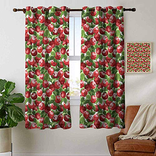 Room Darkening Wide Curtains Apple,Red Apples and Green Leaves Organic Food Garden Harvest Eating Clean Theme Print,Red Green White,Light Blocking Drapes with Liner 42
