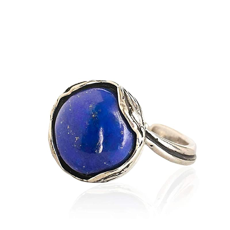 Lapis Lazuli Ring Adjustable Ring 14x10mm Sterling Silver Ring with Lapis Lazuli