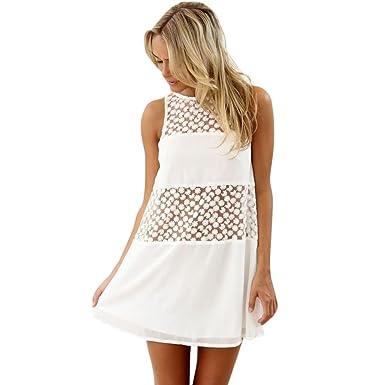 ebe4a38b67 Leisun Women White Summer Dress Chiffon Custom O-Neck Lace Sleeveless Boho  Beach Swing Short