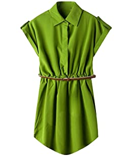 Comfy-Women Short Sleeve Business Belt Baggy Pure Colour Pencil Mini Dress Army Green L