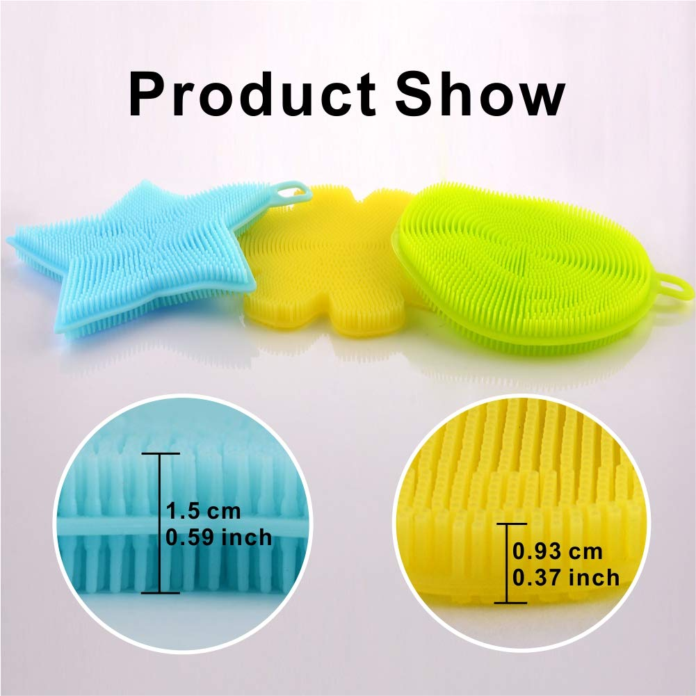 4 Pack Silicone Sponges Food-Grade Antibacterial Mildew-Free Dishwashing Scrubber Cleaning Dish Brush Towel Pad for Kitchen Washing Pot Pot Pan Bowl Fruit and Vegetable Heat Insulation Pad (4)