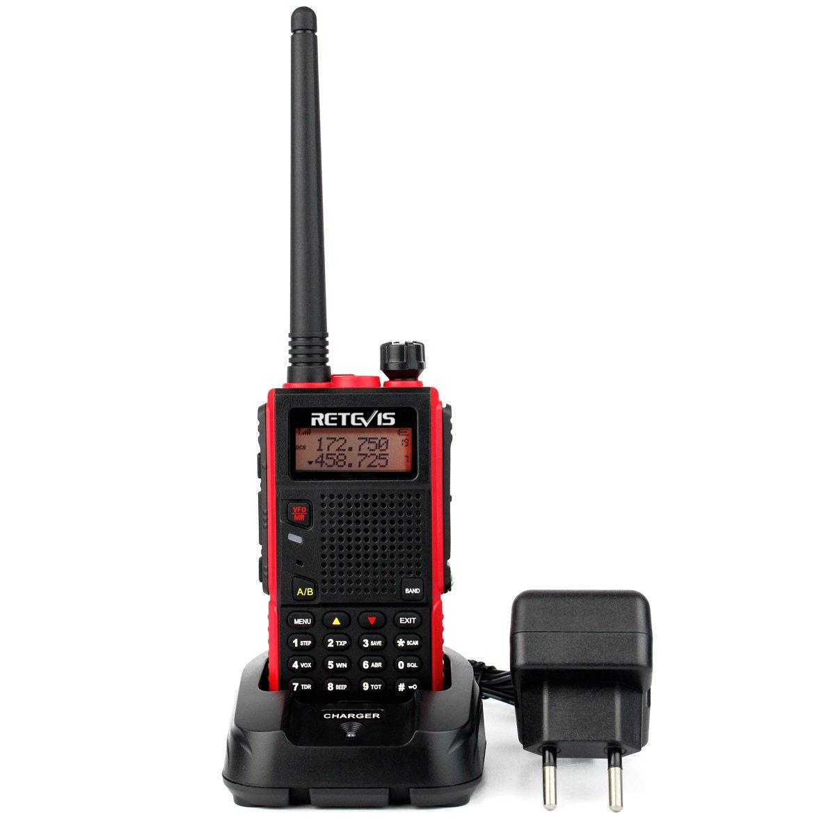 Retevis RT5 Walkie Talkie Banda Dual VHF136-174MHz y UHF400-520MHz Monitor 128 Canales Escanear VOX Radio FM 1750Hz Cargador Europeo Pinganillo Transmisor Negro (Negro y Rojo, 1 Pac) EUA9108A