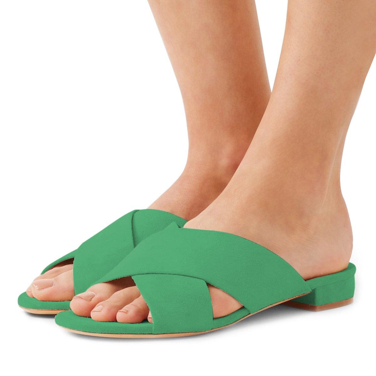 FSJ Women Comfortable Cross Strap Sandals Low Heels Mules Slide Casual Flats Shoes Size 4-15 US B07CTF9GLT 8 B(M) US|Green