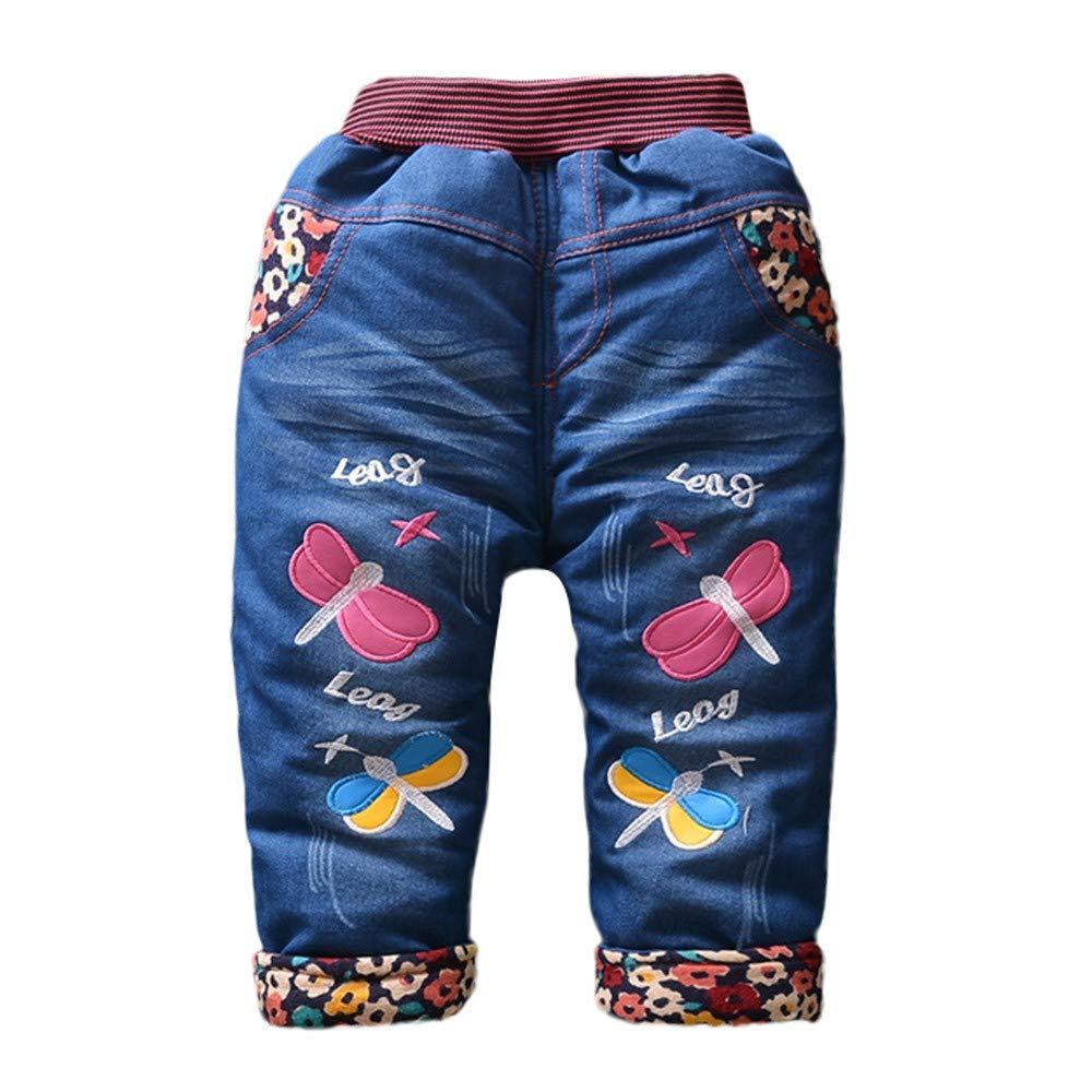 f6a2ed855ec88 Amazon.com  KONFA Toddler Baby Girls Floral Denim Style Trousers ...