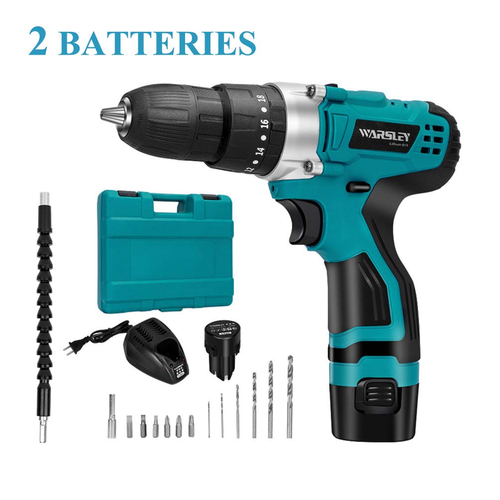 WARSLEY 12V 1.5Ah Lithium Ion Cordless Drill/Driver Set - Compact Drill Kit with LED, 3 Function, 2 Speed, 2 Batteries, 1 Hour Fast Charger, 18 Torque Setting, 13 pcs Drill/Driver Bits Included