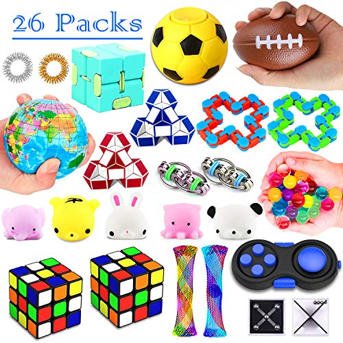 26 Pack Sensory Toys Set, Fidget Toys Pack Stress Relief Hand Toys for Adults Kids ADHD ADD Anxiety Autism - Perfect for Birthday Pinata Fillers, Classroom Treasure Box Prizes and ()