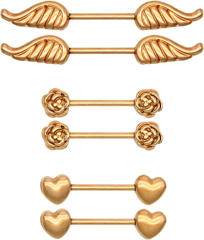 BELLE Rose Gold Half Nipple Shield Piercing Nipple Bar Bars Ring Rings Barbell
