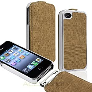 XMAS SALE!!! Hot new 2014 model Brown Deluxe Flip PU Leather Chrome Case Cover for Apple iPhone 4 4G 4S VerizonCHOOSE COLOR
