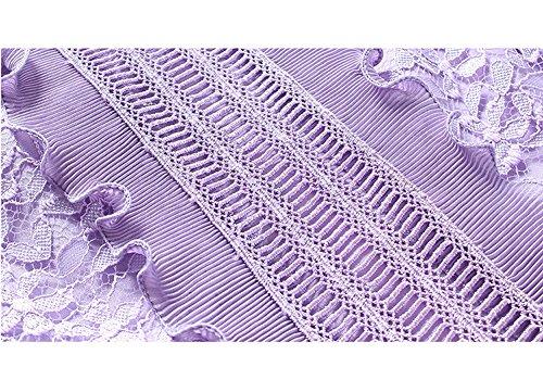 DISSA Partykleid Cocktailkleid Kleid Hohl Cocktail Kleider Damen Midi Kurzarm Spitze Reine YL73506 Violett rAwSqBr
