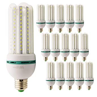 Pack de 15 bombillas LED E27 20 W=150 W Foco luz blanca fría 6000