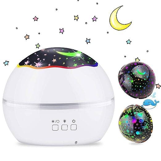 Proyector de 8 Luces de Estrellas en Color, LED 360 ° Giratorio de ...