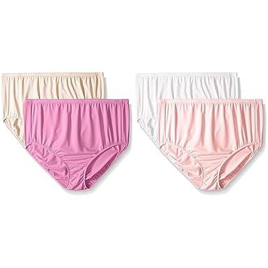 1410334db836 Ellen Tracy Women's 4 Pack Microfiber Full Brief Panty, Violet/Natural/Pink/