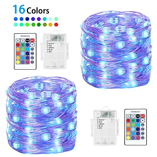 Fairy Lights, DOMEZAN 2 x 16.4ft Copper Wire 50 LED String Lights Battery Operated Waterproof 16 Colors Changing Firefly Lights Dimmable with Remote Control (Timer)
