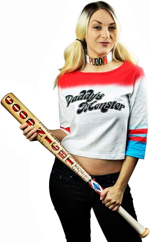 Accesorios Deportes Disfraz Suicidio Carnaval coleccionables Mujer Cosplay ni/ña Suicide Cosplay Halloween KIRALOVE Bate de b/éisbol de Madera Real Harley