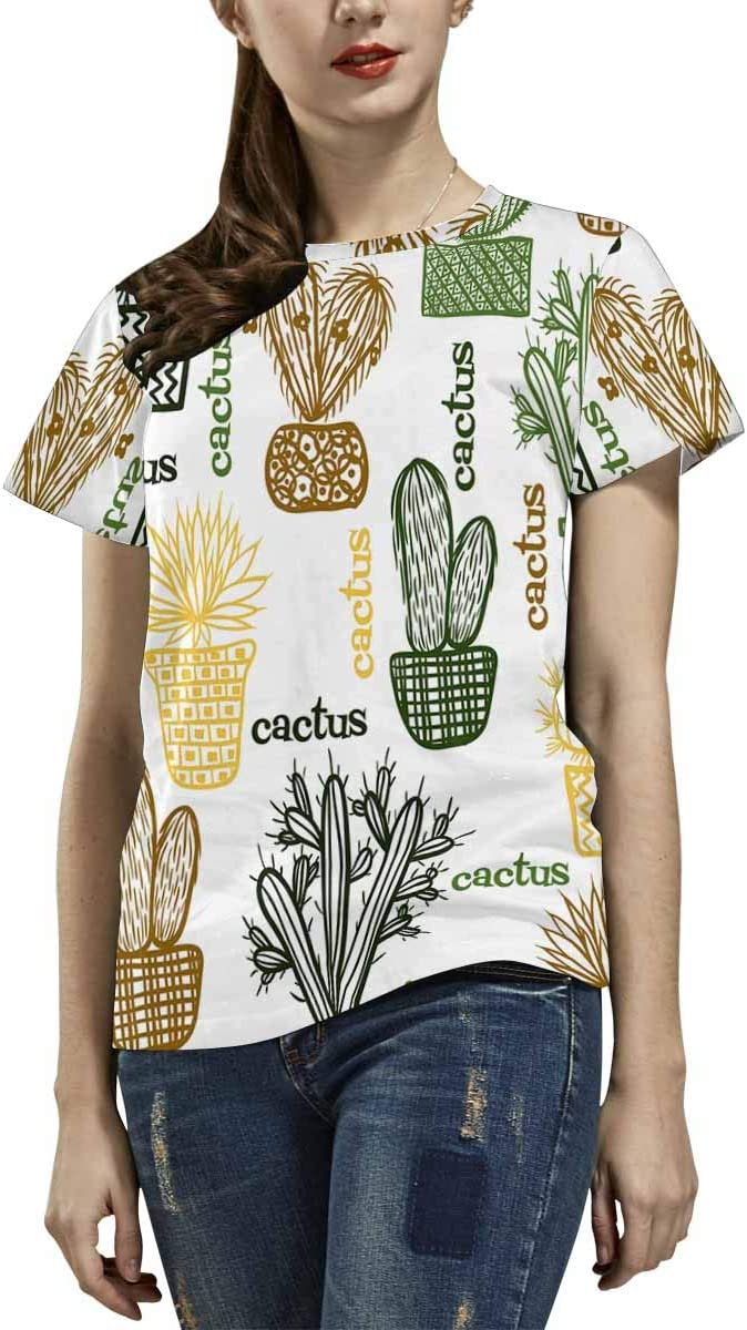 INTERESTPRINT Mens Hoodies Pullover Cactus Plants Fashion Short Sleeve Hooded T-Shirt XS-2XL