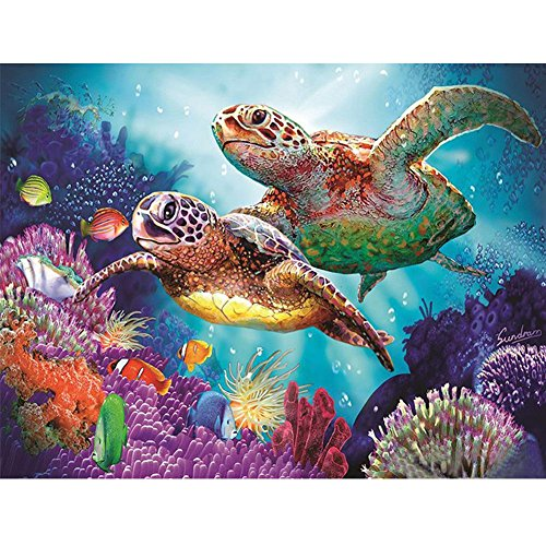 Whitelotous Partial Drill Sea Turtles DIY 5D Diamond Painting Kit Embroidery Craft Cross Stitch Home Decor Gift 12 x 16 inch