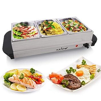 NutriChef plato caliente calentador de alimentos y servidor de Buffet Calientaplatos Set – Bandeja de calentamiento