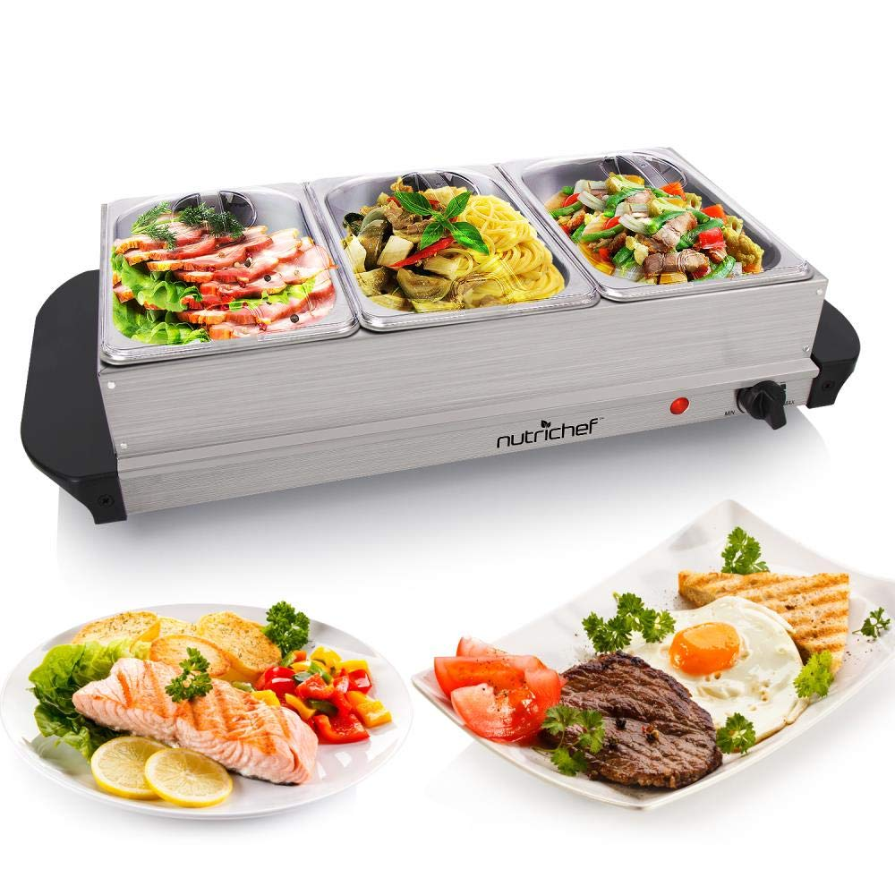 NutriChef Hot Plate Food Warmer - Buffet Server Chafing Dish Set - Portable Stainless Steel Electric Warming Tray Features 3 Section 1.5 quart Serving Containers with Lids - AC Powered - PKBFWM21